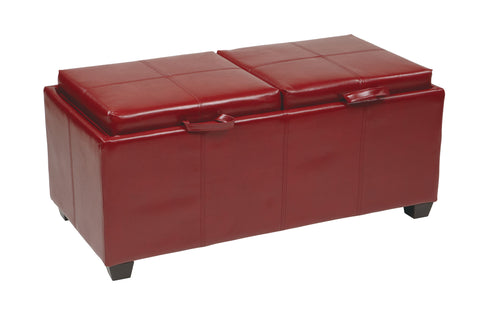 OSP Designs Storage Ottoman in Red with Dual Trays & Seat Cushions - Harvey & Haley
