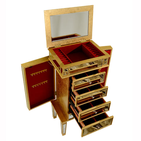 Elegant Lighting - 4 Drawers Jewelry Armoire, Gold/Clear mirror - Harvey & Haley