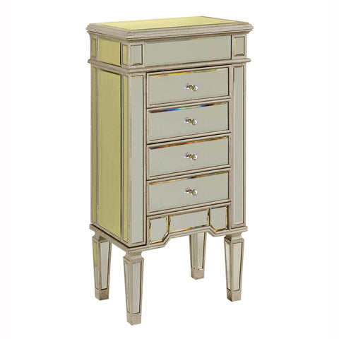 Elegant Lighting - 4 Drawers Jewelry Armoire, Sliver/Clear mirror - Harvey & Haley