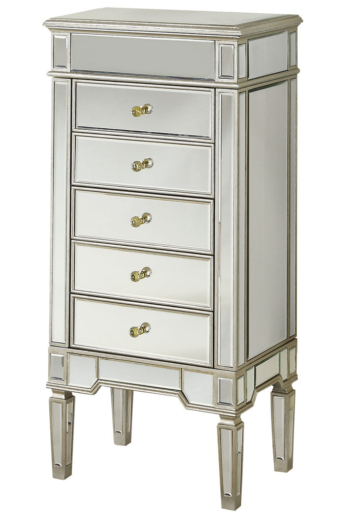 Elegant Lighting - 5 Drawers Jewelry Armoire, Silver/Clear Mirror - Harvey & Haley