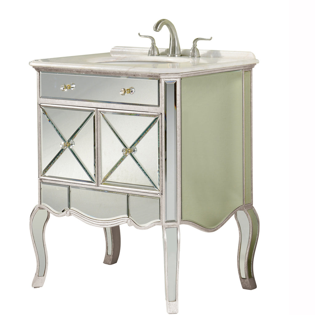 "Elegant Lighting - 2 Doors Vanity Cabinet 30"" x 21"" x 36""H, Silver/Clear Mirror - Harvey & Haley  - 1"