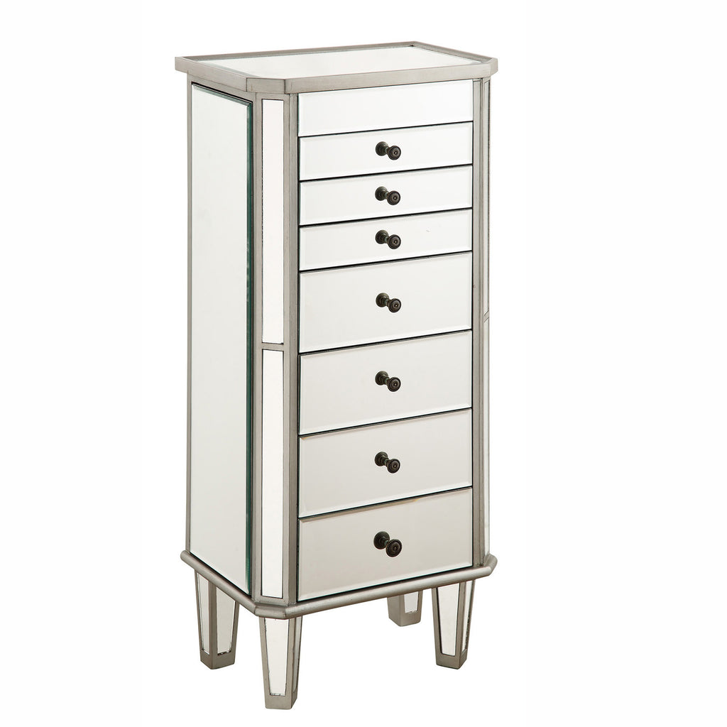 Elegant Lighting - 7 Drawer Jewelry Armoire, Silver Clear - Harvey & Haley  - 1