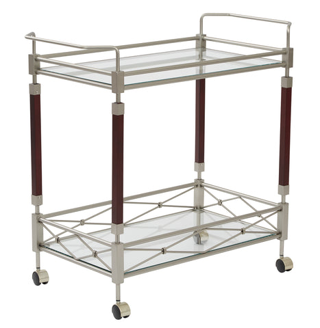 OSP Designs Melrose Serving Cart with Nickel Brush Metal Frame - Harvey & Haley