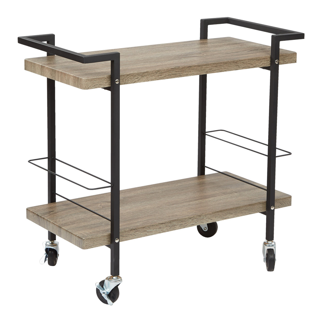 OSP Designs Maxwell Serving Cart in Ash Veneer Finish, Black Powder Coated Steel Frame by OSP Designs - Harvey & Haley