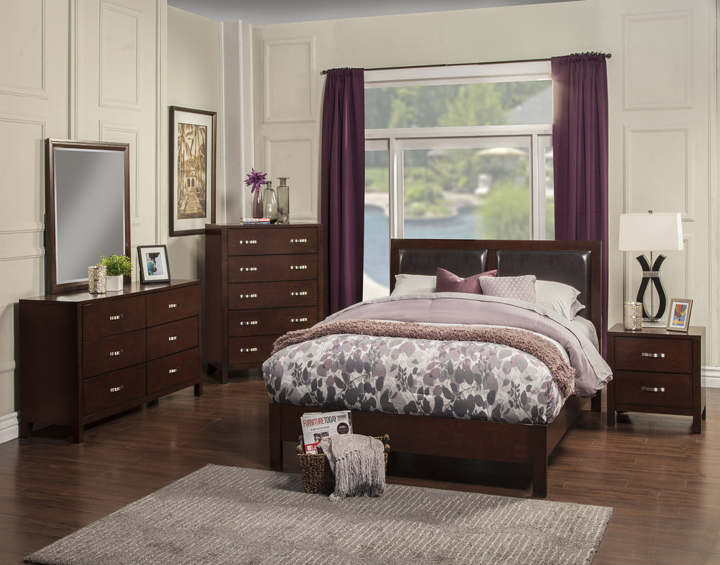 Alpine Costa Mesa Full Size Platform Bed with Faux Leather Headboard - Harvey & Haley