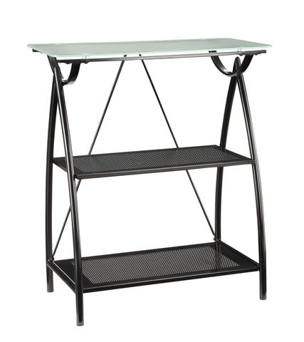OSP Designs Newport 2-Shelf Bookcase W/Frosted Tempered Glass Top, BLK Powder Coated Steel Frame K/D - Harvey & Haley