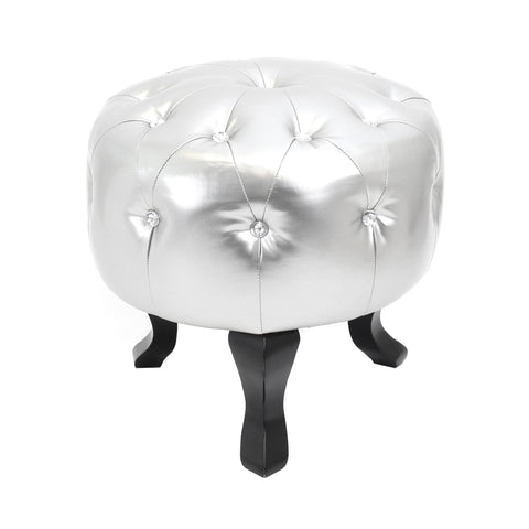 Lumisource Pouf Ottoman Round in silver - Harvey & Haley