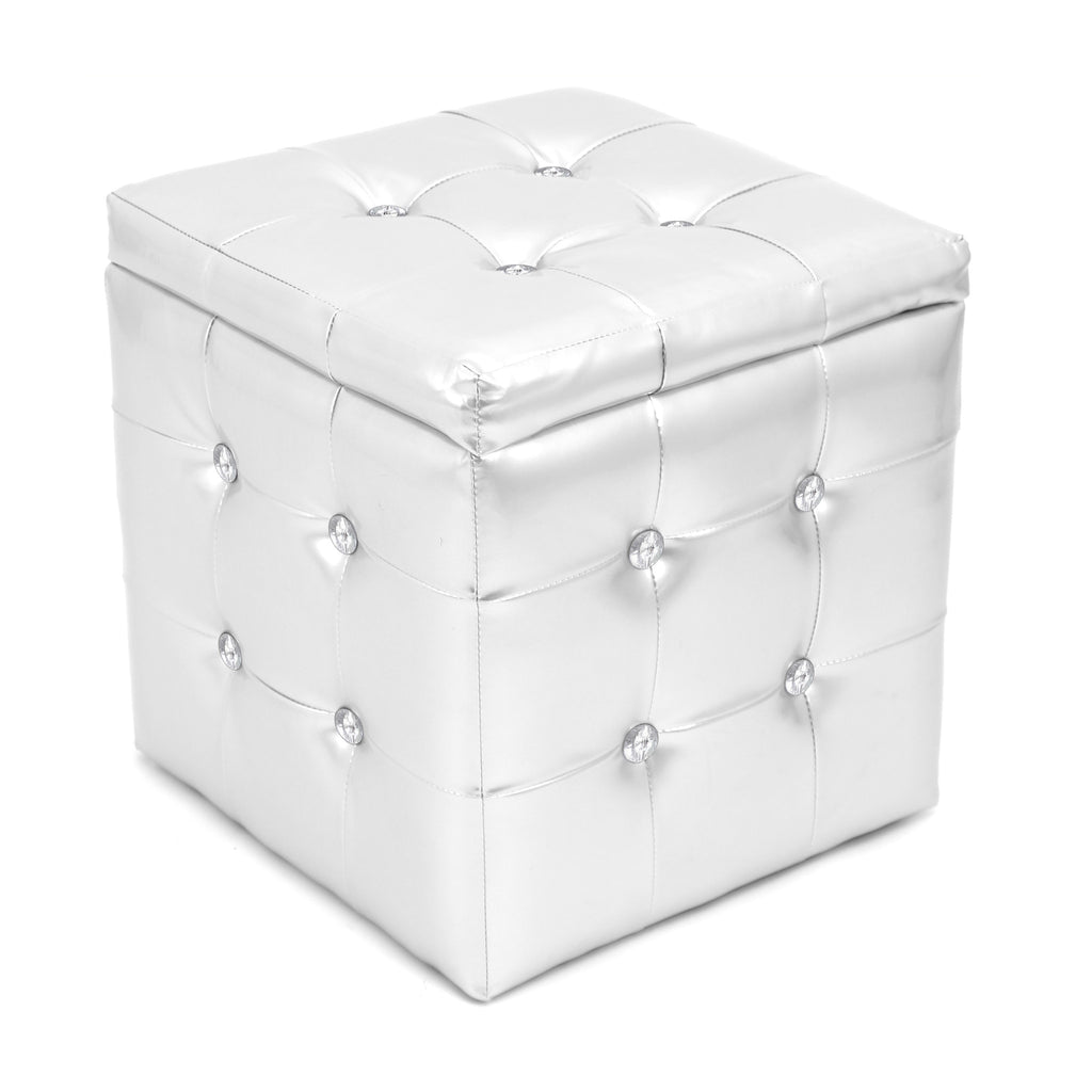 Lumisource Pouf Ottoman Square  in silver - Harvey & Haley