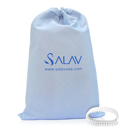 Salav Accessory Pack, 2 Piece set - Brush & Travel Bag for use with TS01 Travel Hand Held Garment Steamer, White - Harvey & Haley  - 1