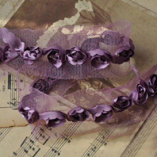 Solid Purple Rose Flower 3D Embroidered Lace Material - Harvey & Haley  - 1