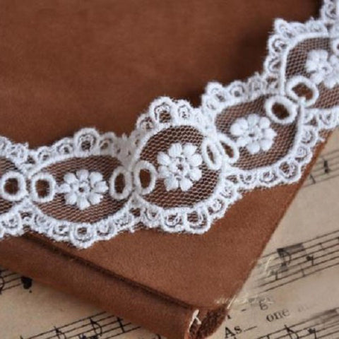 3cm Wide Beige Ribbon Bilateral Styled Mesh Embroidered Lace Material - Harvey & Haley  - 1