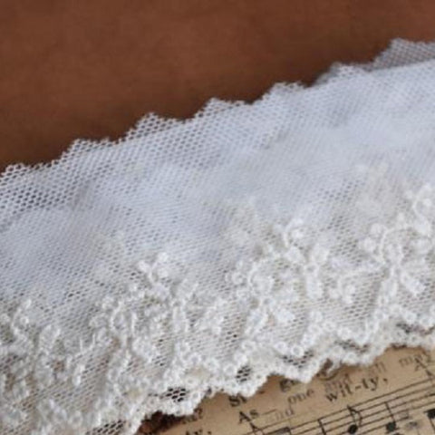 4cm Wide Beige Embroidered Mesh Lace Material - Harvey & Haley  - 1