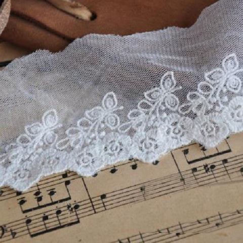 5cm Wide Beige Mesh Embroidery Material Lace for Designs - Harvey & Haley  - 1