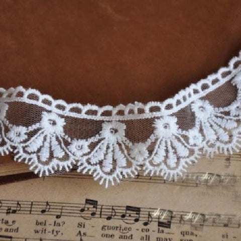 3.5cm Wide Beige Mesh Embroidery Lace Material - Harvey & Haley  - 1