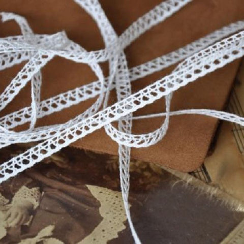 6mm Wide Thin Beige Cotton Soft Lace Material - Harvey & Haley  - 1