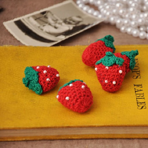 Crochet Cotton Threaded Flowers Small Strawberry Design - Harvey & Haley  - 1