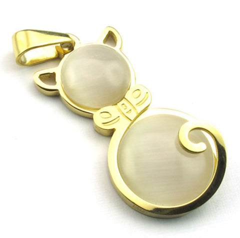 Stainless Steel Gold Opal Cat Pendant - Harvey & Haley  - 1