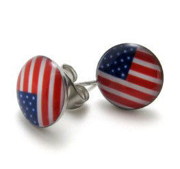 Stainless Steel American Flag Stud Earrings - Harvey & Haley  - 1