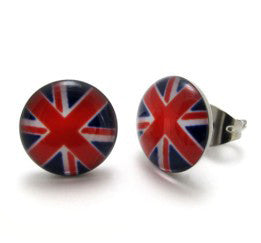 Stainless Steel British Flag Stud Earrings - Harvey & Haley  - 1