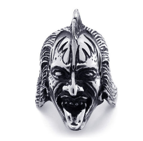 316L Titanium Steel Warcraft Jewelry Half Orc Ring Head for Men-Size 10 - Harvey & Haley  - 1
