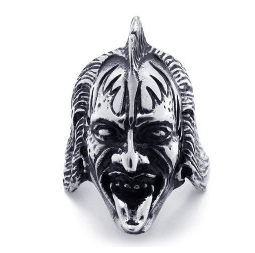 316L Titanium Steel Warcraft Jewelry Half Orc Ring Head for Men-Size 11 - Harvey & Haley  - 1