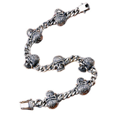 Gothic Jewelry Punk Bracelet Vampire Skull .925 Thai Silver Jewelry for Men
