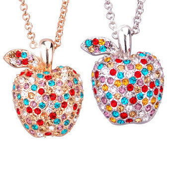 Dangling Apple Pendant Made of Austrian Crystal Women's Necklace-Color silver