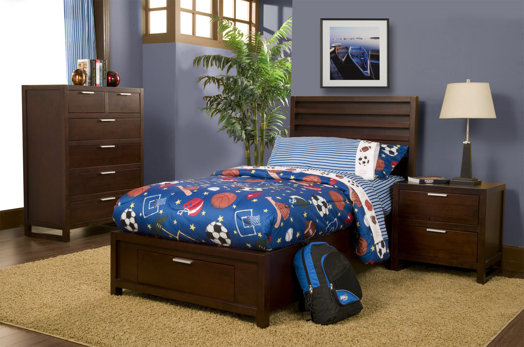 Alpine Camarillo Twin Size Platform Bed with Storage Footboard - Harvey & Haley