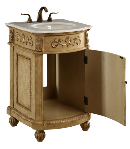 "Elegant Lighting - Vanity Cabinet 1 Door 24"" x 22"" x 36"", Antique Beige - Harvey & Haley  - 1"