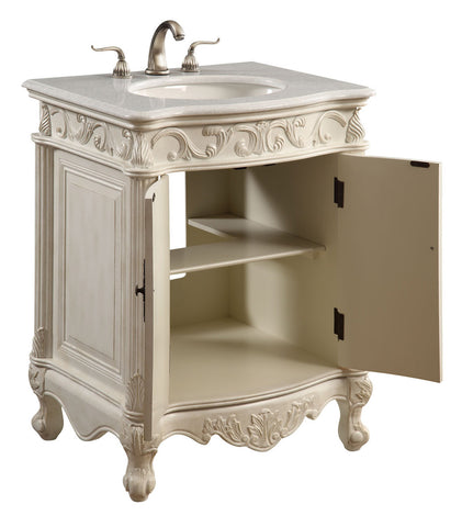 "Elegant Lighting - Vanity Cabinet 2 Door 27"" x 21"" x 35"", Antique White - Harvey & Haley  - 1"