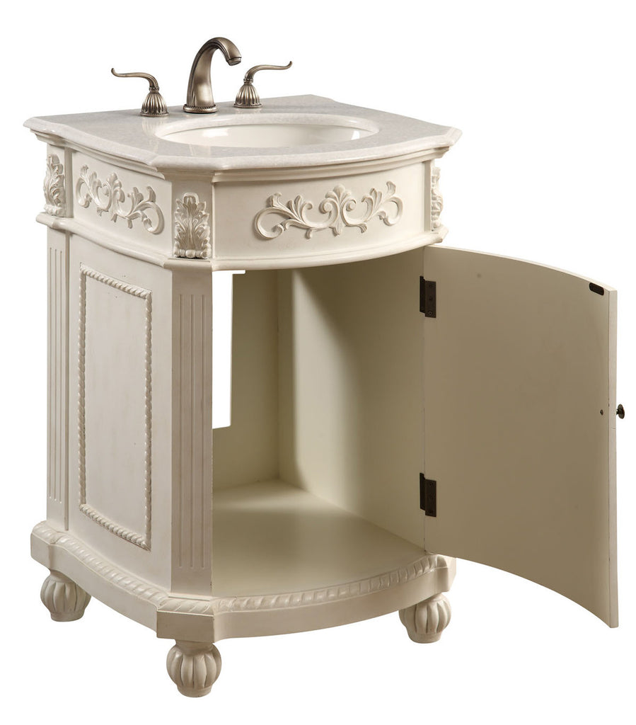 "Elegant Lighting - Vanity Cabinet 1 Door 24"" x 22"" x 36"", Antique White - Harvey & Haley  - 1"