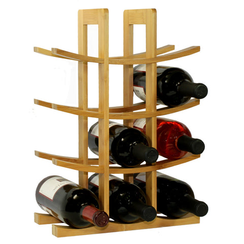 Oceanstar 12-Bottle Natural Bamboo Wine Rack WR1149 - Harvey & Haley  - 1