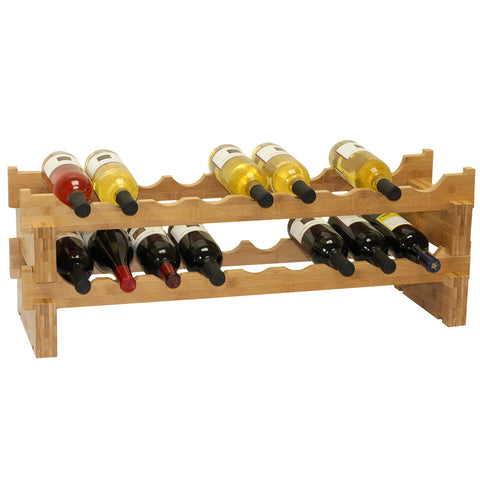 Oceanstar 18-Bottle Stackable Bamboo Wine Rack - Harvey & Haley  - 1