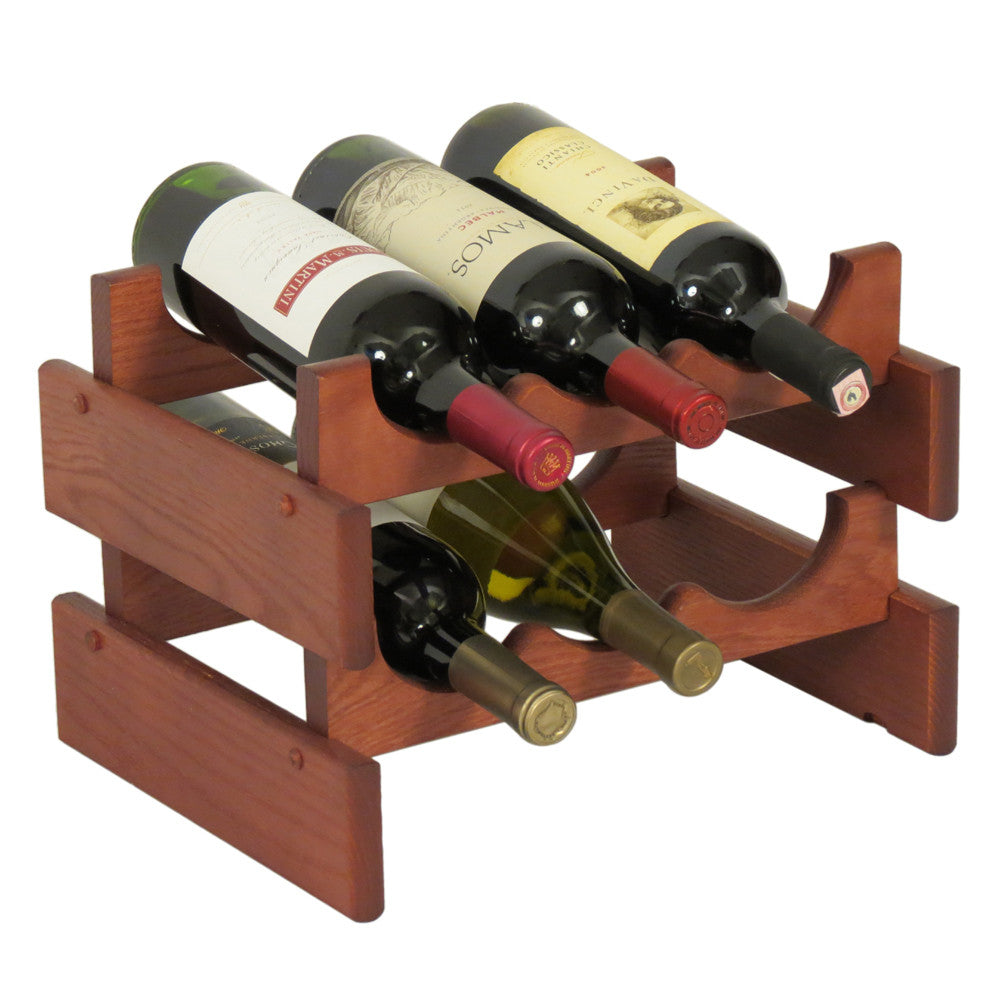 Wooden Mallet 6 Bottle Dakota™ Wine Rack  in Mahogany - Harvey & Haley  - 1