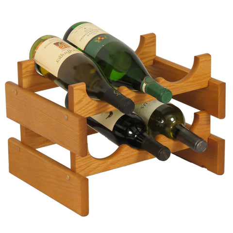 Wooden Mallet 6 Bottle Dakota™ Wine Rack  in Medium Oak - Harvey & Haley  - 1