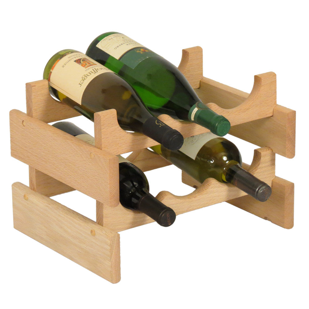 Wooden Mallet 6 Bottle Dakota™ Wine Rack  Unfinished - Harvey & Haley  - 1