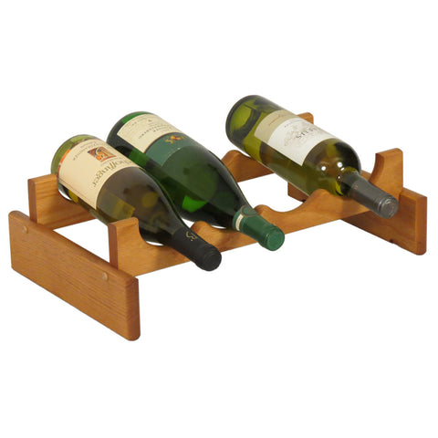 Wooden Mallet 4 Bottle Dakota™ Wine Rack  in Medium Oak - Harvey & Haley  - 1