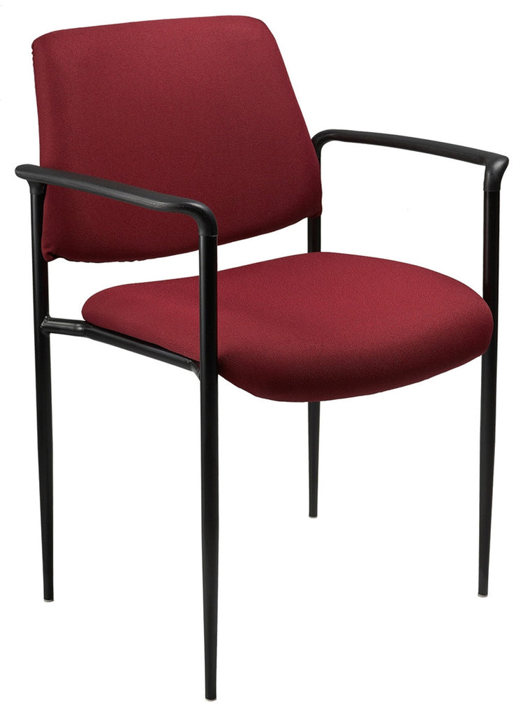 Boss Square Back Diamond Stacking Chair with Arm, Burgundy - Harvey & Haley