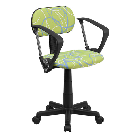 Blue & White Swirl Printed Green Computer Chair with Arms - Harvey & Haley