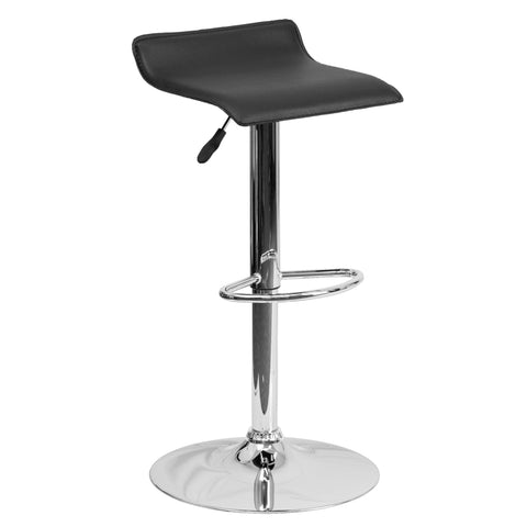 Wave Seat Backless Home Bar Counter Vinyl Barstools With Chrome Base 9-Colors #801 (Black) - Harvey & Haley