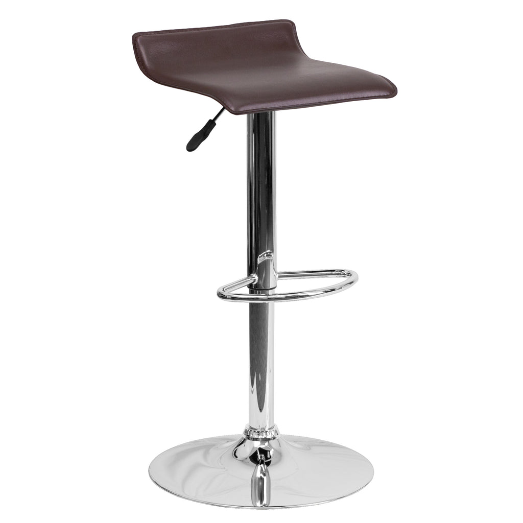 Wave Seat Backless Home Bar Counter Vinyl Barstools With Chrome Base 9-Colors #801 (Brown) - Harvey & Haley