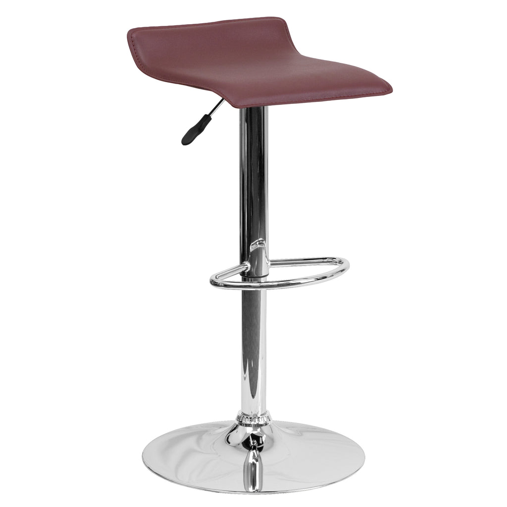 Wave Seat Backless Home Bar Counter Vinyl Barstools With Chrome Base 9-Colors #801 (Burgundy) - Harvey & Haley