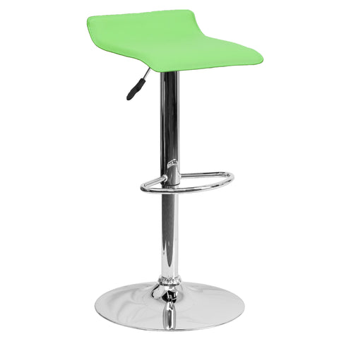 Wave Seat Backless Home Bar Counter Vinyl Barstools With Chrome Base 9-Colors #801 (Green) - Harvey & Haley