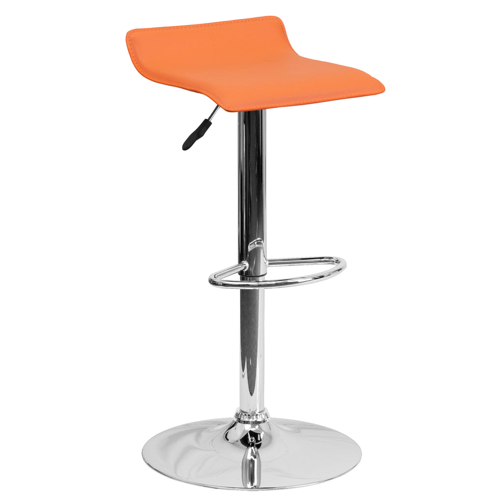 Wave Seat Backless Home Bar Counter Vinyl Barstools With Chrome Base 9-Colors #801 (Orange) - Harvey & Haley