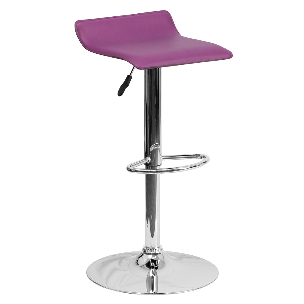 Wave Seat Backless Home Bar Counter Vinyl Barstools With Chrome Base 9-Colors #801 (Purple) - Harvey & Haley