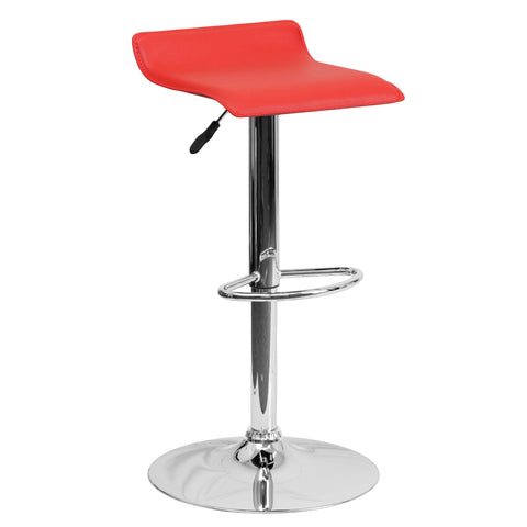 Wave Seat Backless Home Bar Counter Vinyl Barstools With Chrome Base 9-Colors #801 (Red) - Harvey & Haley