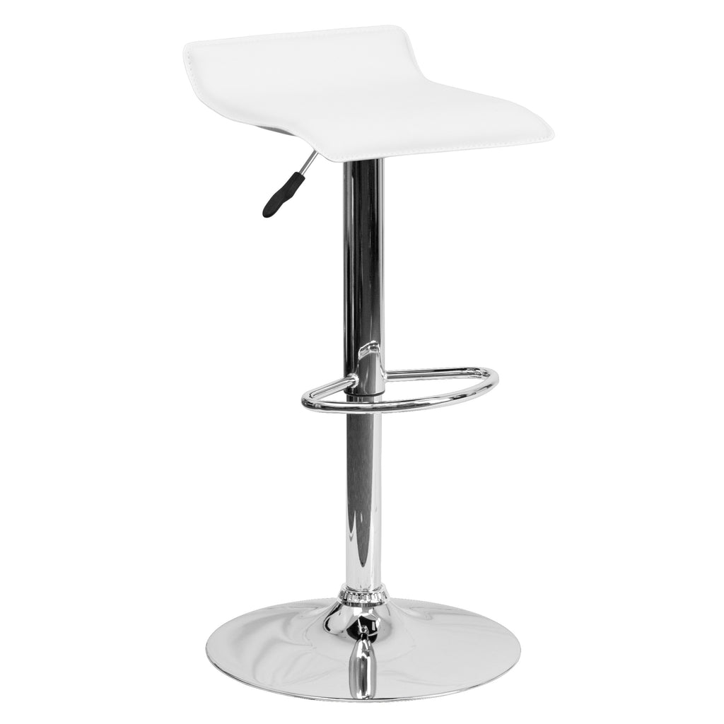 Wave Seat Backless Home Bar Counter Vinyl Barstools With Chrome Base 9-Colors #801 (White) - Harvey & Haley