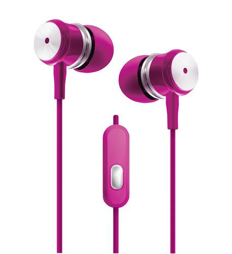 Pink - Chrome Earbuds w/Microphone - Harvey & Haley