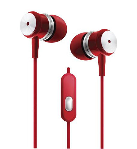 Red - Chrome Earbuds w/Microphone - Harvey & Haley