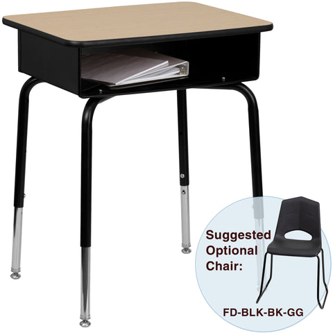 Student Desk with Open Front Metal Book Box - Harvey & Haley